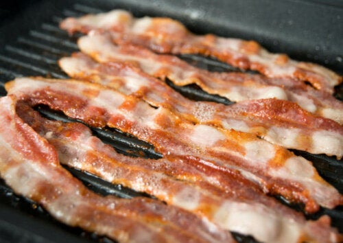 Some strips of bacon.