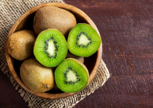 Kiwis have a lot of fiber and vitamin C.