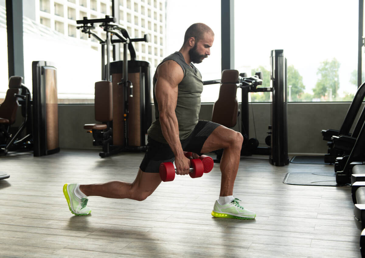 A man doing lunges.