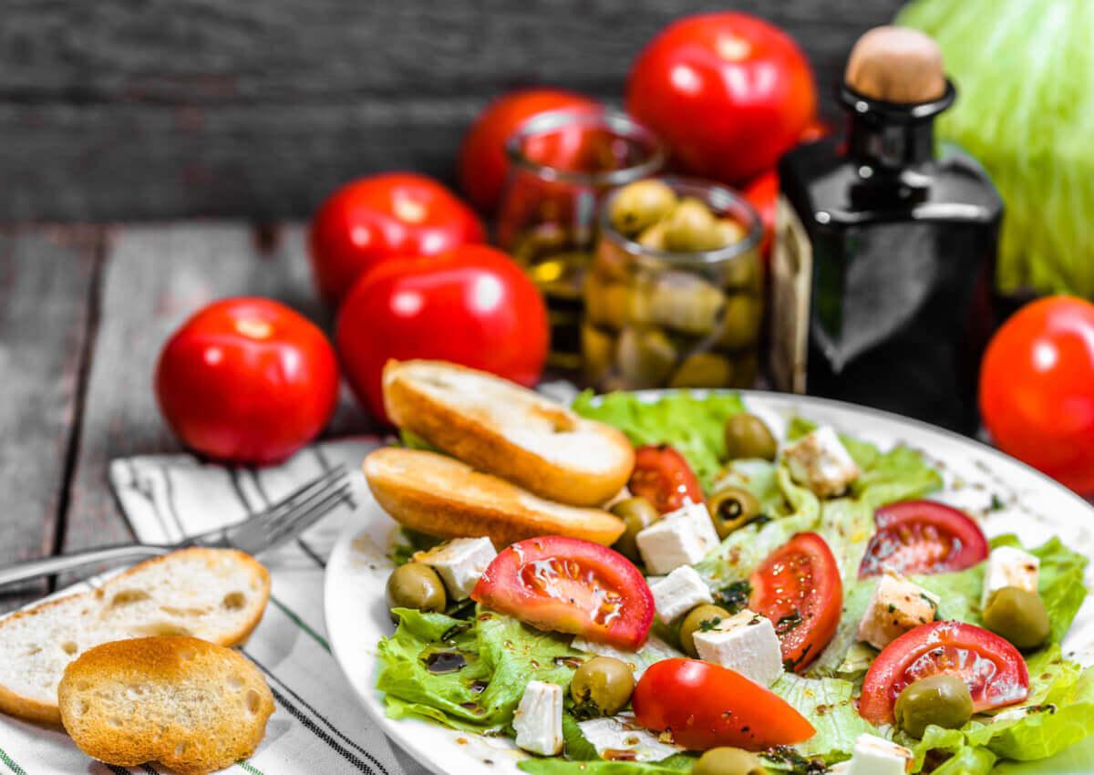 A Mediterranean diet salad.