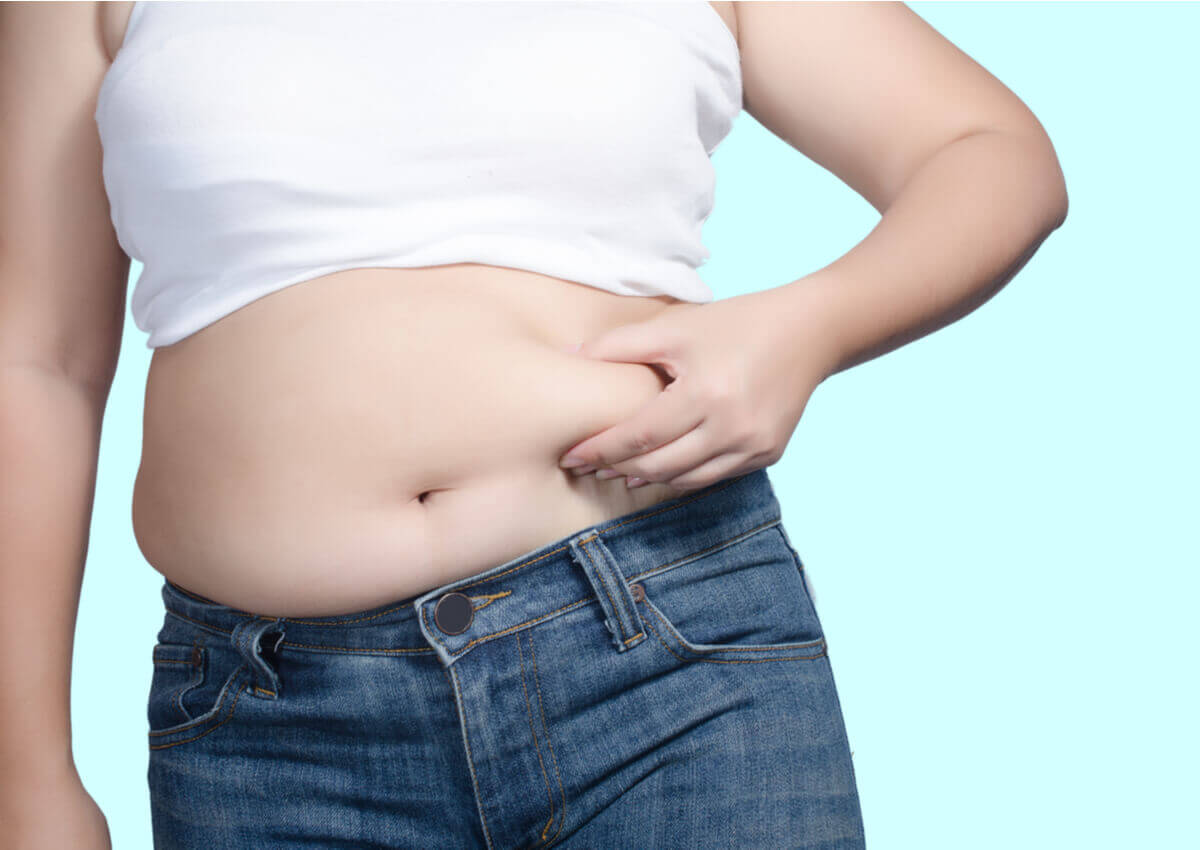 A person holding their belly fat.