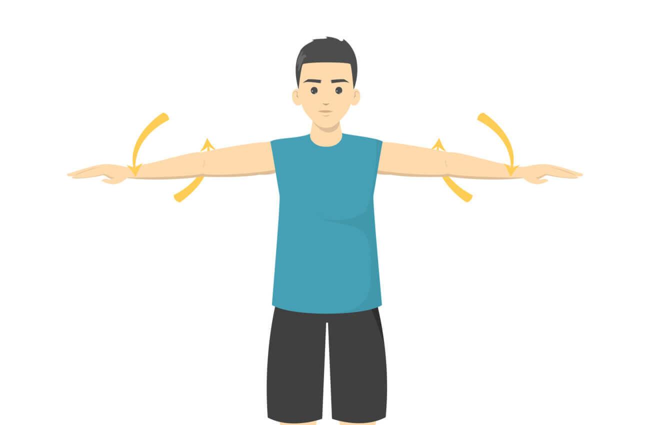 A man doing arm circles.