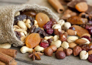 An assortment of nuts and dried fruit.