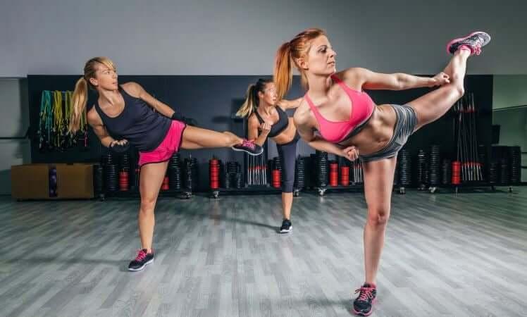 Women in a body combat class.