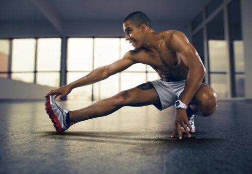 A man stretching after a workout.