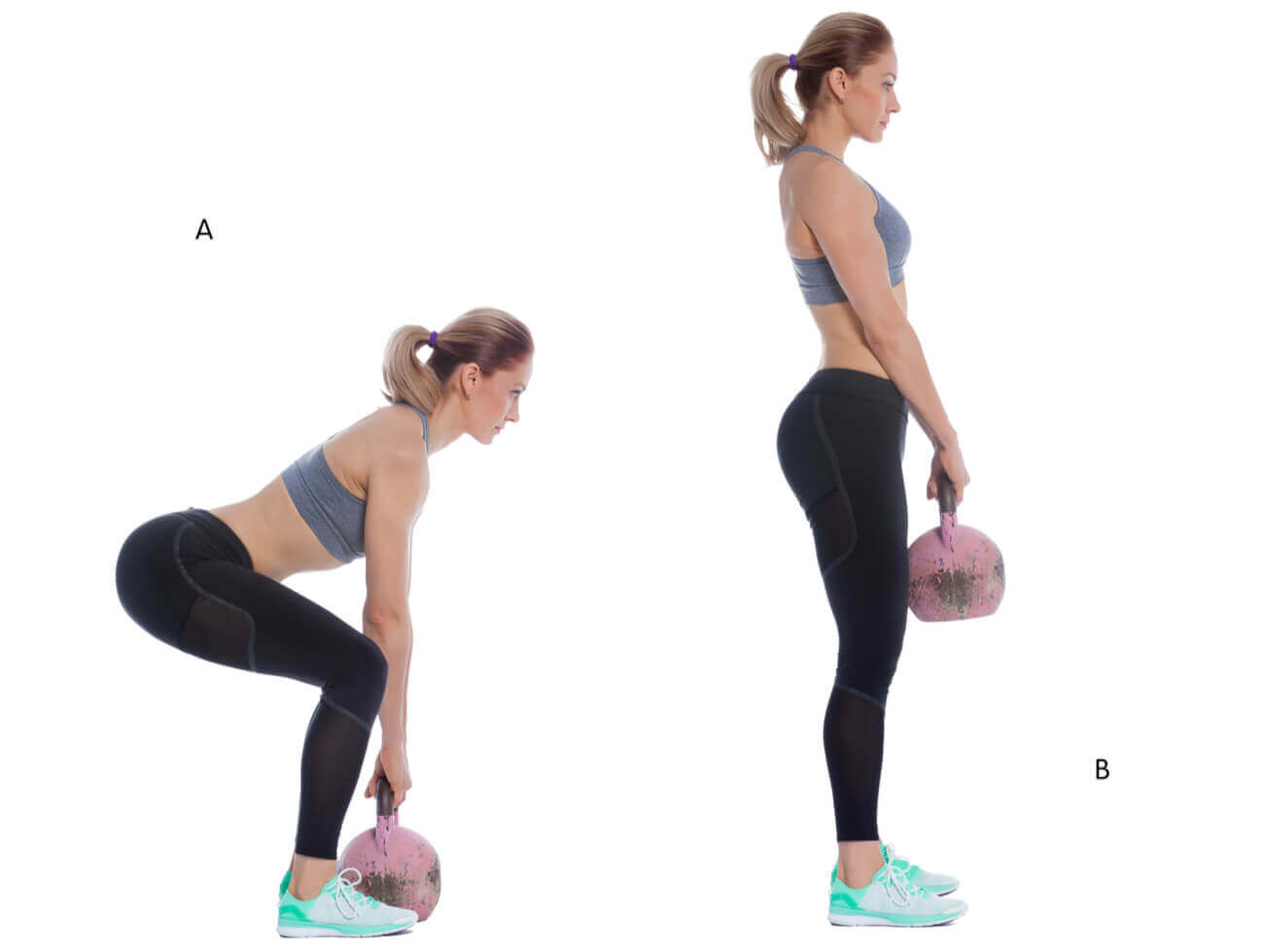 A woman demonstrating the correct way to do a deadlift with a kettlebell.