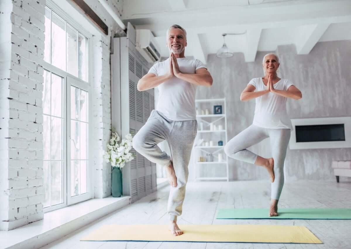 A older couple doing yoga.