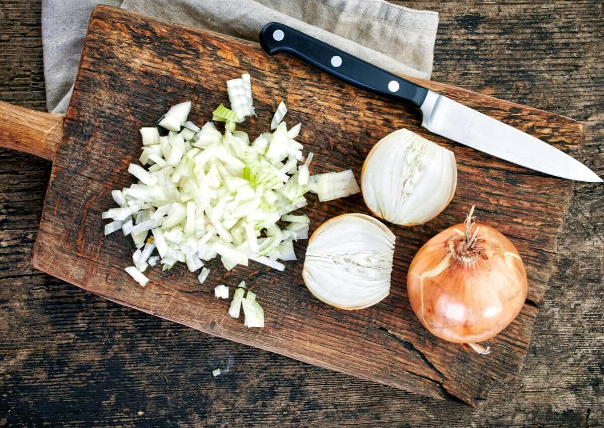 Chopped onion.