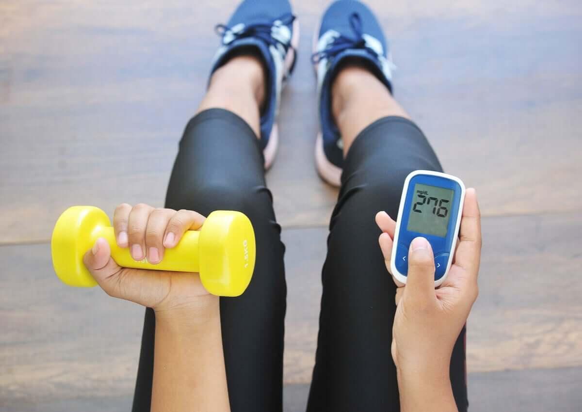 A diabetic person exercising.