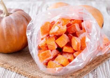 A bag of frozen pumpkin cubes.