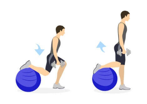 The steps to leg flex exercises using a fit ball.
