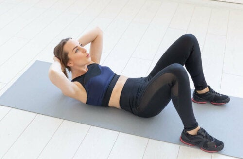 Abdominal crunches are very effective.