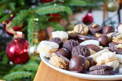 A plate full of Christmas sweets.