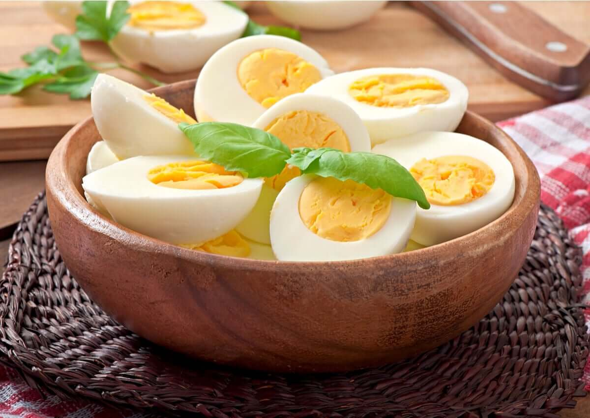 A few boiled eggs in a bowl.