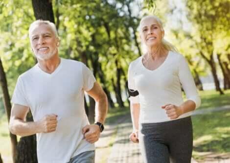 An older couple jogging.
