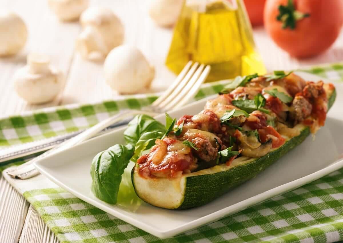 Stuffed zucchini on a plate.